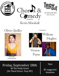 Chords & Comedy hosted by Kevin Marshall - Olivia Quillio, William Hughes, and Vernon Payne @ The Daily Grind (Troy) | Troy | New York | United States