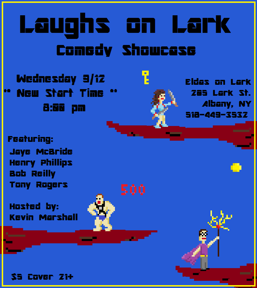 Laughs on Lark 25: Jaye McBride, Bob Reilly, Henry Phillips, and Tony Rogers (hosted by Kevin Marshall) @ Elda's on Lark | Albany | New York | United States
